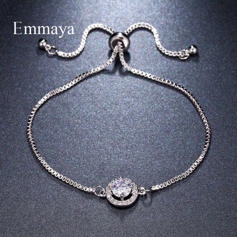 Emmaya แฟชั่นเรียบหรูสองสี AAA เพทายปรับวงแหวนรอบคริสตัลสร้อยข้อมือสำหรับผู้หญิงเครื่องประดับของขวัญ