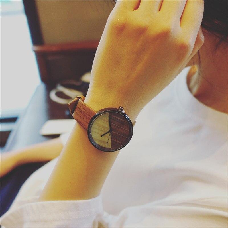 New Stitching Design Wood Grain Watches Simple Wooden Vintage Female Clock Brand Fashion Women Wrist Watch Relogio Feminino 2