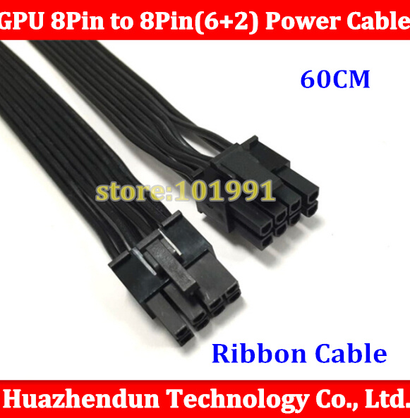 High Quality for 60CM PCI-E 8Pin Male to 8 Pin (6+2pin) Male GPU Power Extension Cable 18AWG Ribbon Cable for video graphic card 1pcs lot pci e 8pin male to 8 6 2 pin male graphics card power cable 18awg 60cm