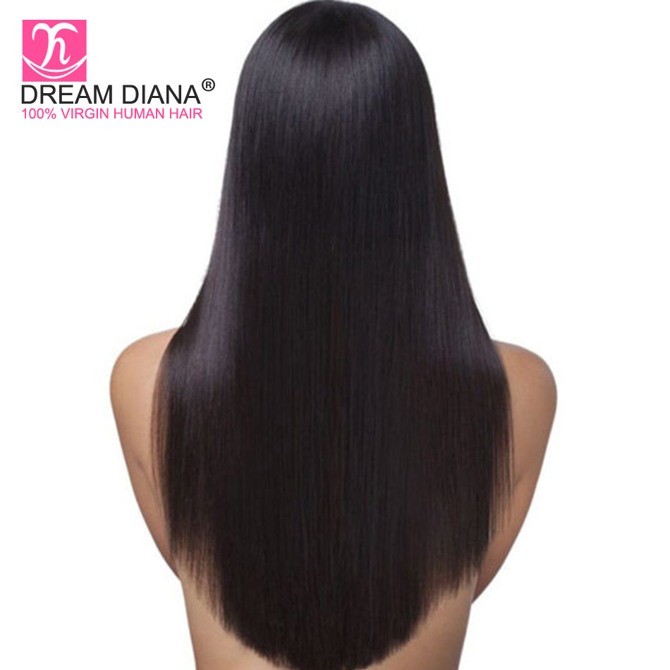 Full Lace Wigs Human-Hair Glueless Straight Black Dreamdiana Burmese Remy 100%Pre-Plucked