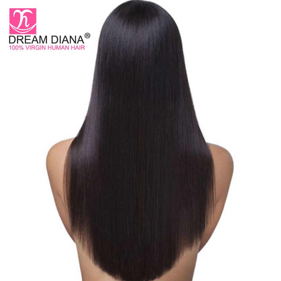 DreamDiana бирманские волосы полные парики шнурка прямые волосы Реми полный парик шнурка бесклеевой черный 100% предварительно сорвал полный парик человеческих волос шнурка