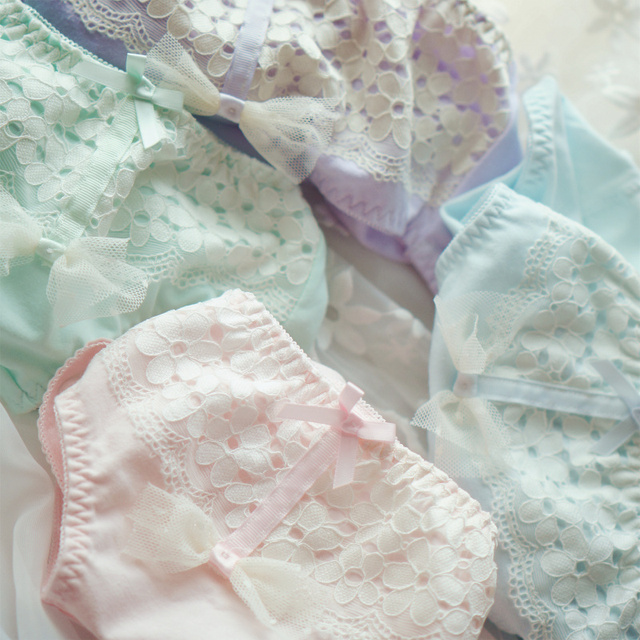 Princess sweet lolita underwear Japanese princess flower bud physiological menstrual period women cotton underwear NK25