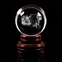 JQJ 3D Laser Engraved Elk Snow Car Figurines Crystal Ball 80 mm Feng Shui Christmas Home Decoration Gift Ornaments with Base