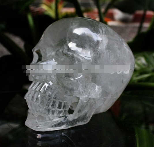 WBY---412++++Natural Quartz Rock Carved Top Realistic Crystal Skull