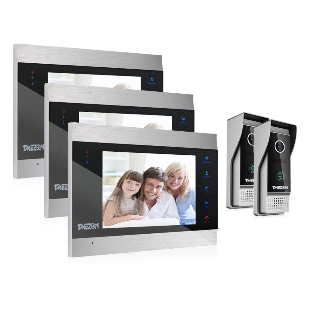TMEZON 7 Inch TFT Wired Smart Video Door Phone Intercom System With 3 Night Vision Monitor + 2x1200TVL Rainproof Doorbell Camera