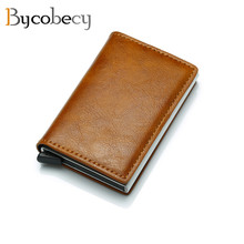 Bycobecy 2019 ID Thin Wallet Vintage RFID Blocking Credit Card Holders Antitheft PU Leather Wallets for Men and Women