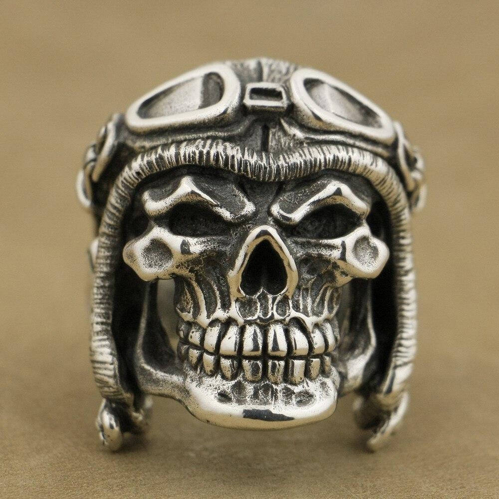 LINSION 925 Sterling Silver Huge Heavy Pilot Skull Helmet Mens Biker Punk Ring TA65 US Size 9~15
