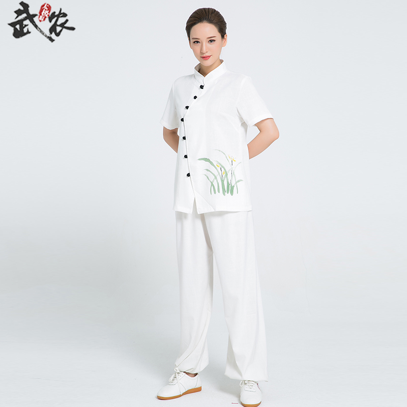 2018 New Product  Linen Kung Fu Clothes Hand Painted Short Sleeve Tai Chi Clothing Women Uniform Wushu Uniforms