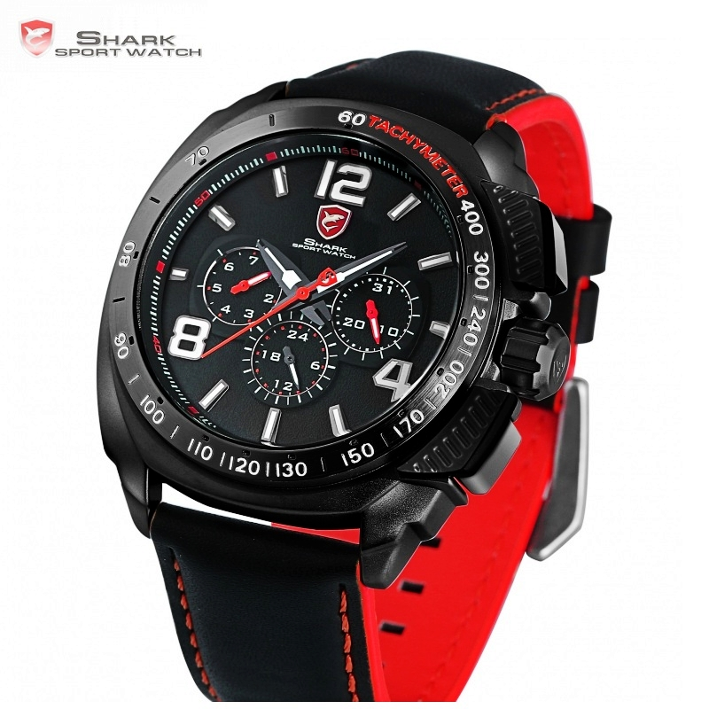 Tiger Shark Sport Watch Luxury Brand Men Red 6 Hands Quartz Date 24Hr Casual Leather Band 1