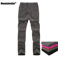 Mountainskin Men's Women Spring Softshell Fleece Sports Pants Outdoor Hiking Camping Climbing Fishing Female Warm Trousers VA196