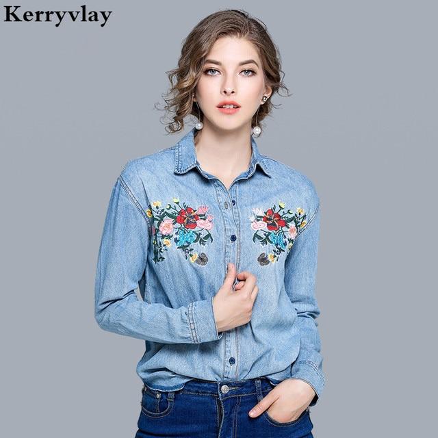 Весенняя Цветочная вышивка джинсы туника с рукавами три четверти De Moda 2019 с длинными рукавами женская джинсовая рубашка Топы Camisas Feminina K7113