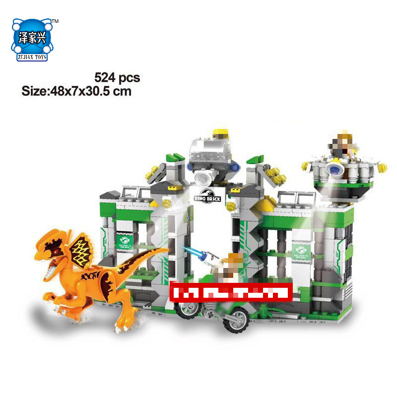 Hot Jurassic Dilophosaurus Flee Dinosaur World Building Block Figures Motorcycle Base Bricks Lepins Educational Toys Gift prehistoric jurassic classic dinosaur model action figures carnivorous dilophosaurus tyrannosaurus t rex model kids toys