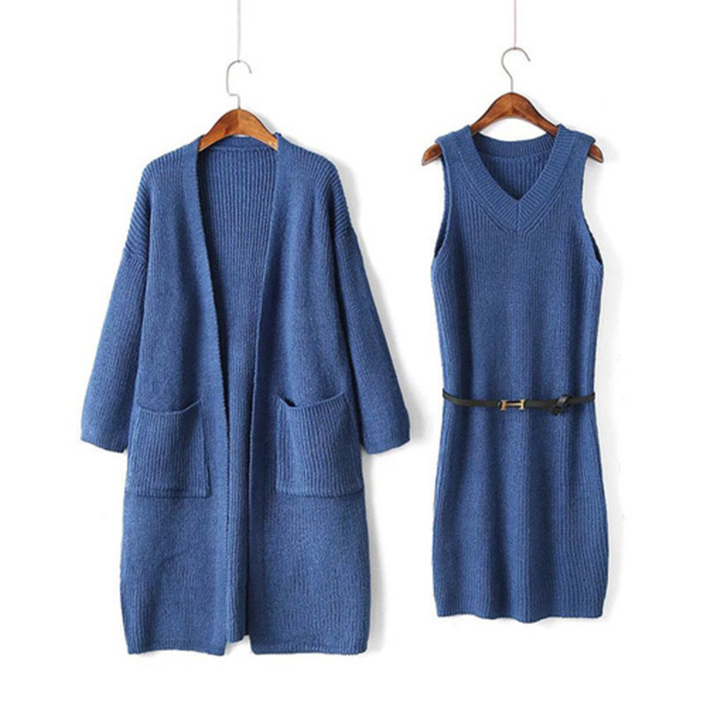 Hot Sale Women Sleeveless Dresses Suit Knitted Sweater Two Piece Set