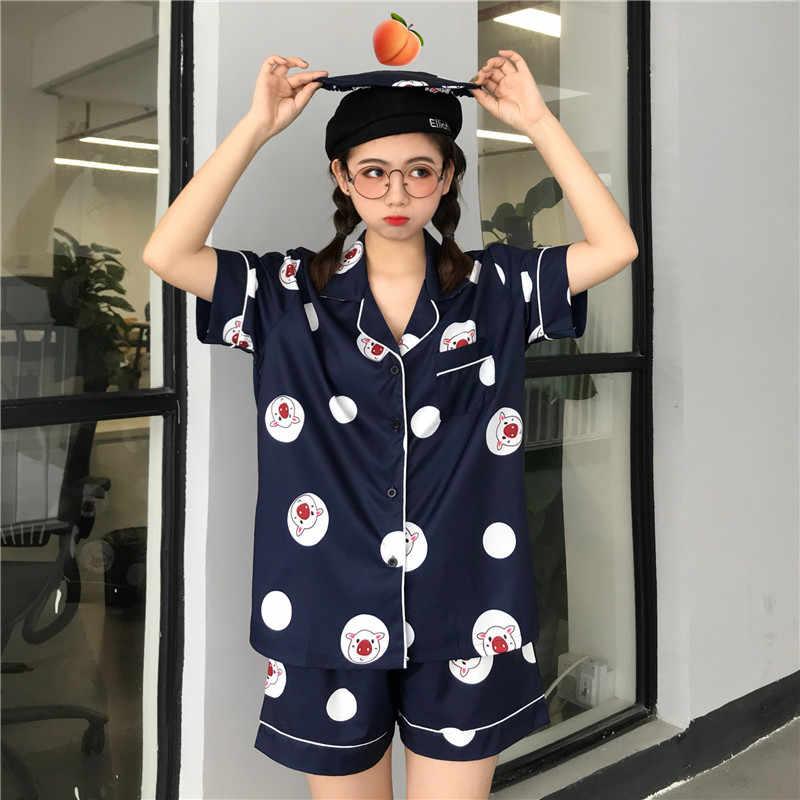 Bielizna nocna 3 sztuk komplet piżamy 2019 kobiety wiosna lato cartoon drukowane piżamy garnitur snu słodkie słodkie nocna domu ubrania