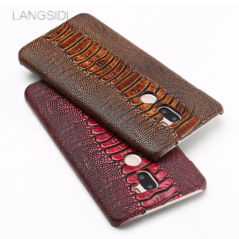 LANGSIDI marque coque de téléphone autruche pied grain demi-enveloppé étui de téléphone pour xiaomi mi 5 s Plus coque de téléphone à la main traitement personnalisé
