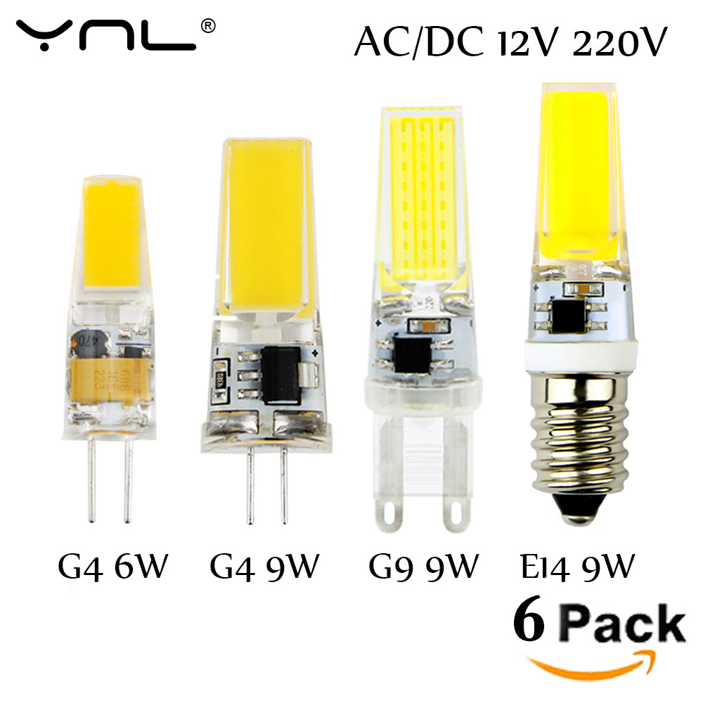 6pcs lot g4 led lamp 220v cob led e14 bulb 6w 9w led cob light dimmable 360 beam angle. Black Bedroom Furniture Sets. Home Design Ideas