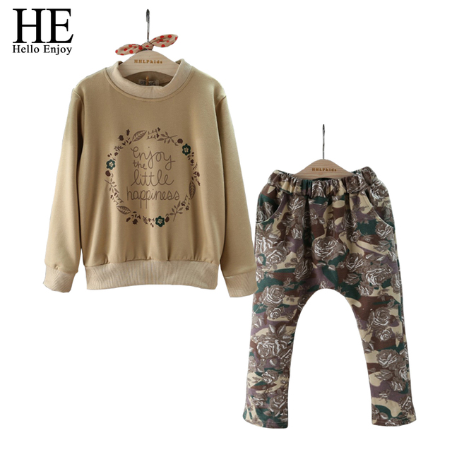 HE Hello Enjoy Girls Clothes winter set Kids Long sleeve T-shirt + Big flower pants children clothing 2016 set