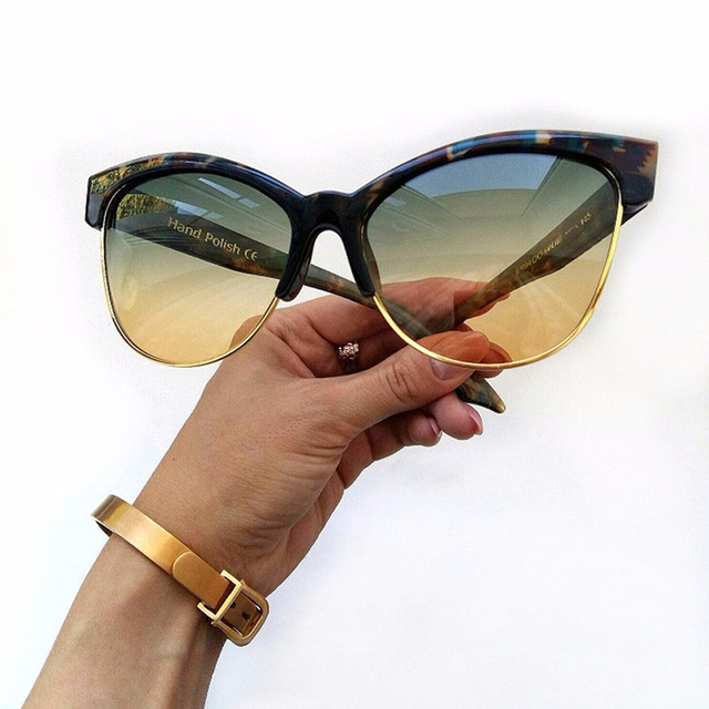 3f90ebd492336 Fashion Women Semi-rimless Cat Eye Sunglasses Vintage Snakeskin Pattern  Legs Nail Decration Brand Designer