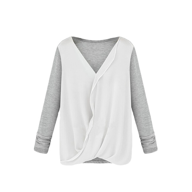 fa556049bfec94 Novelty Patchwork white women chiffon Shirts,Sexy Wrap Front V Neck blouses,Ladies  Long