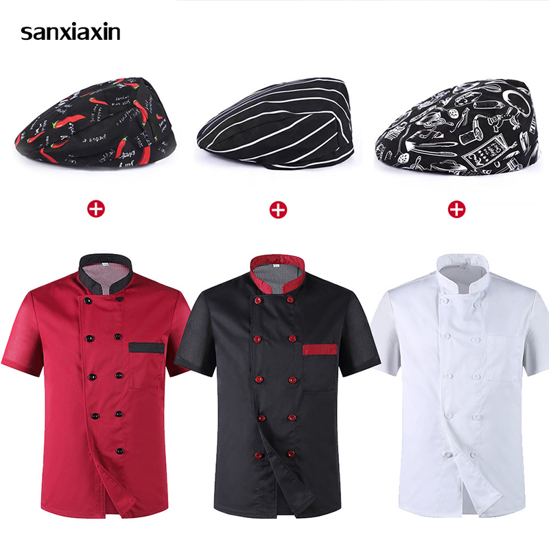 Wholesale Unisex Kitchen Chef Uniform Bakery Food Service Cook Short Sleeve Shirt Breathable Double Breasted Chef Jacket Clothes