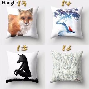 Image 5 - Hongbo housse de coussin carrée avec motif de dessin animé de renard, pour canapé, décoration de la maison, 1 pièce