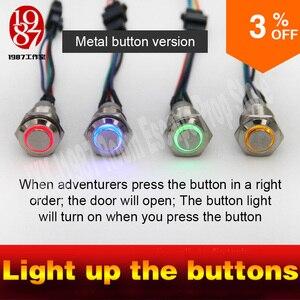 Jxkj1987 fuga aventura jogo acender quatro botões de metal a fim de desbloquear o bloqueio e fugir mesterious chamer quarto