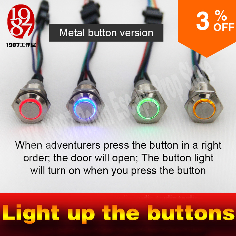 game props for escape room  light up four metal buttons in order to unlock lock and run away mesterious  chamer room  jxkj1987 sanwa button and joystick use in video game console with multi games 520 in 1