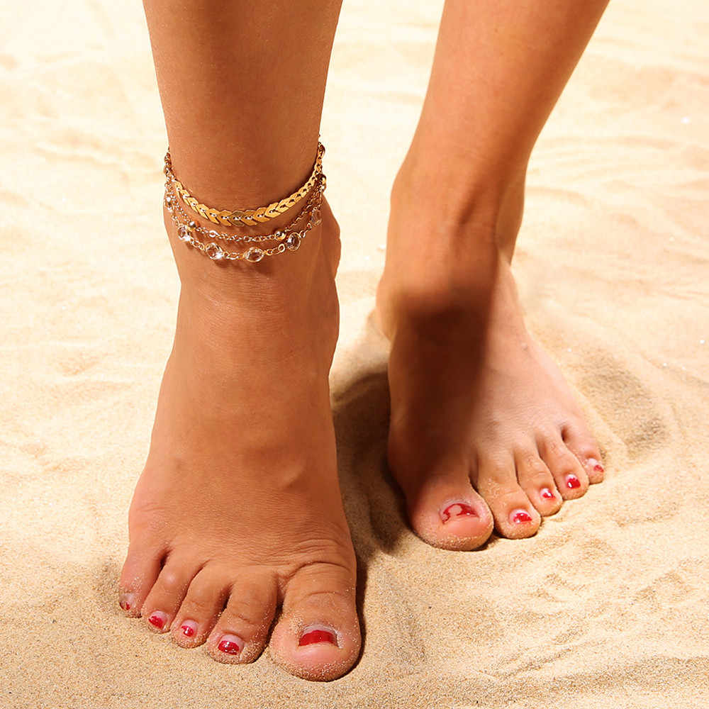 OTOKY 3 шт./компл. женские браслеты для щиколотки Аксессуары для ног летний босиком на пляже браслет под сандалии лодыжки на ноге женские украшения для лодыжки