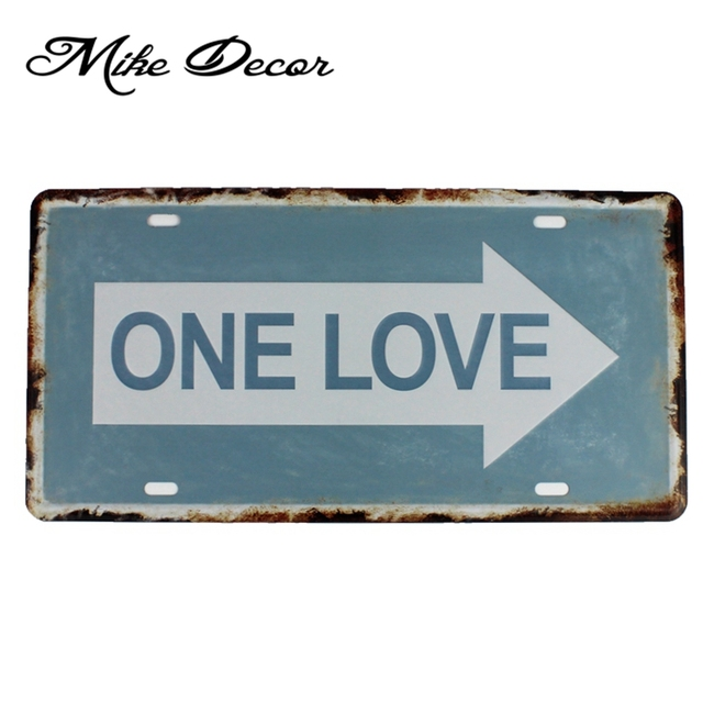 [ Mike86 ] ONE LOVE Funny Iron Painting Vintage Gift Craft Metal Tin sign decor D-619  30*15 CM