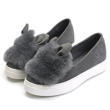 Winter Warm Suede Slip on Women Flats Creepers Fashion Women's Cute Platform Bunny Boat Shoes Large Size Z108 fur moccasins