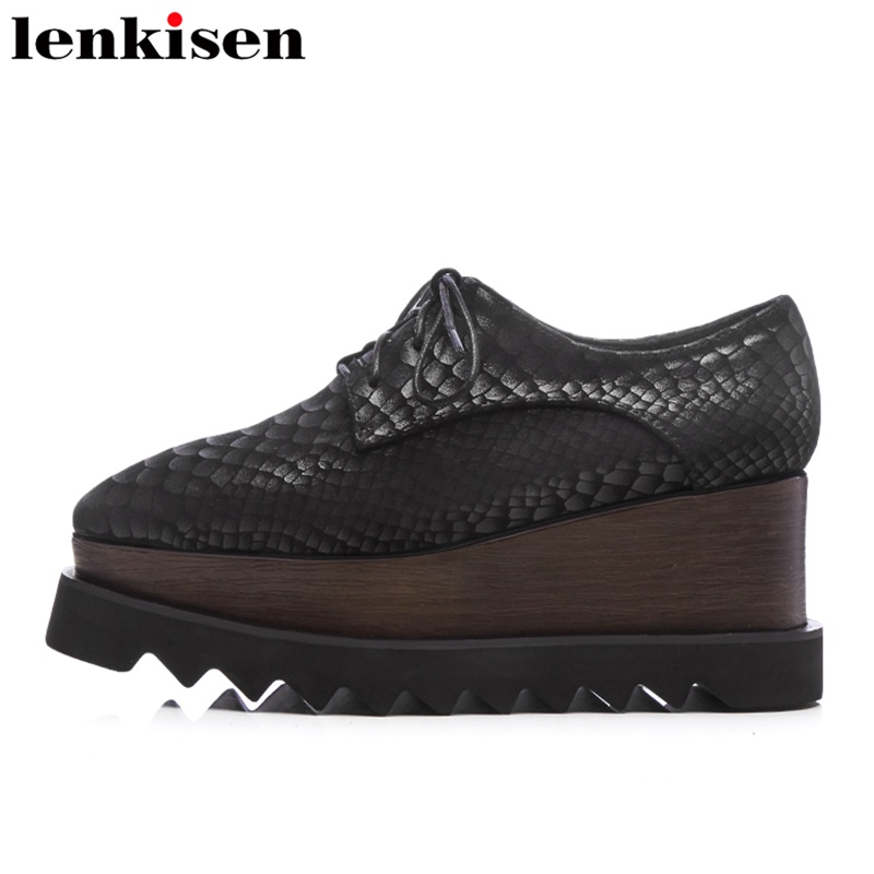 Lenkisen 2018 fashion round toe lace up cow suede platform causal shoes wedges runway high heels elegant black women pumps L1f1 big size high heels round toe women platform shoes cool casual white lace wedge black creepers medium pumps mesh chinese fashion