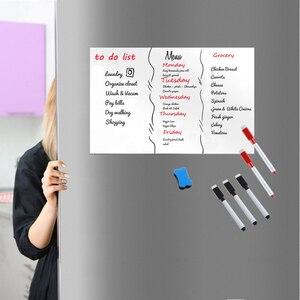 Image 2 - A3 rozmiar 297mm X 420mm lodówka przypomnienie magnetyczne Dry WIPE tablica arkusz na naklejka na lodówkę markery Eraser Big Note Board