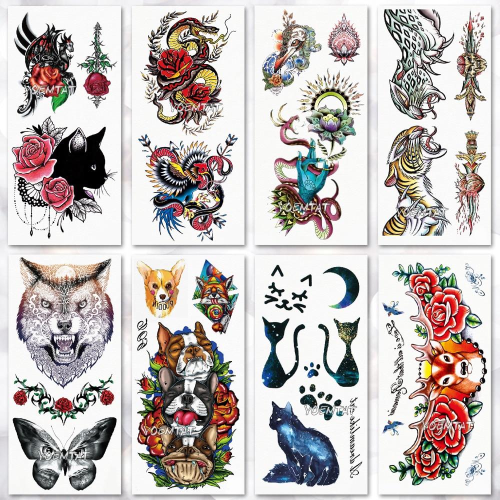 Water Transfer Watercolor Wolf Tiger Temporary Tattoo Sticker Universe Cat Pattern Body Art Waterproof  Flash Tattoo