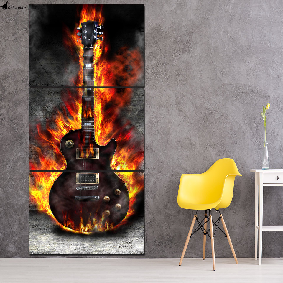 HD Printed 3 Panel Canvas Art Burning Guitar Canvas Målning Rum Decor Canvas Konst Konst Posters Bild Gratis frakt NY-6602C