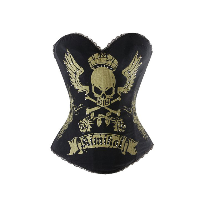 Black Brocade Steampunk Corset Sexy Waist Trainer 3Hook Eyes Corsets And Bustiers Skull Gothic Corselet Overbust Lingerie TYQ