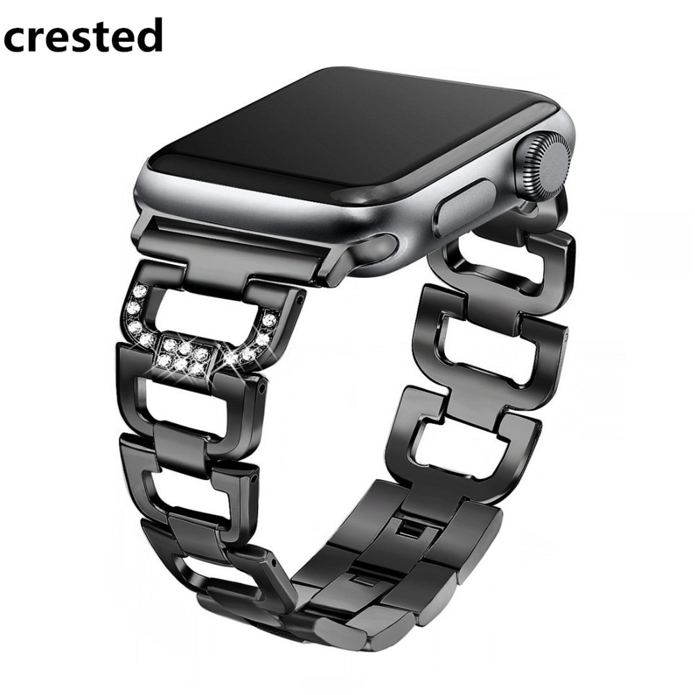 CRESTED link bracelet band For Apple watch series 4 44mm/40mm strap correa iwatch 3 2 1 42mm/38mm Stainless Steel wristband belt dahase stainless steel link chain strap for apple watch series 3 band 42mm 38mm bracelet for iwatch series 1 2 3 metal wristband