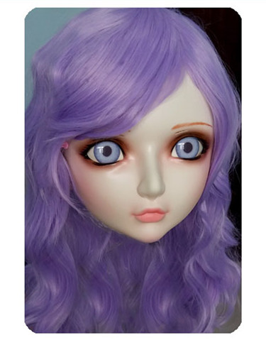 Hard-Working Women/girl Sweet Resin Half Head Kigurumi Bjd Mask Cosplay Japanese Anime Lifelike Lolita Mask Crossdressing Sex Doll dm025