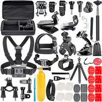 Gopro 58 in 1 set accessories for YI SJ SJCAM sports camera DV hero 7 5 4 3+ accessories group Selfie stick tripod bicycle clip