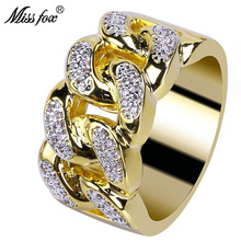 HOT!!! Hip Hop Trendy Twisted 18K Gold Ring Men Luxury Brand Micro Pave Zircon ValentineS Day Gift Accessories