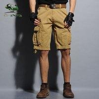 Gorąca sprzedaż Nowy mężczyzna cargo szorty Bawełniane Kombinezony multi-pocket Camouflage Uniform Moda Casual Kolano Długość Męskie Szorty