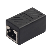 RJ45 Female to Female Network Ethernet LAN Connect Adapter Coupler Extender Ethermet Cable Connector Black