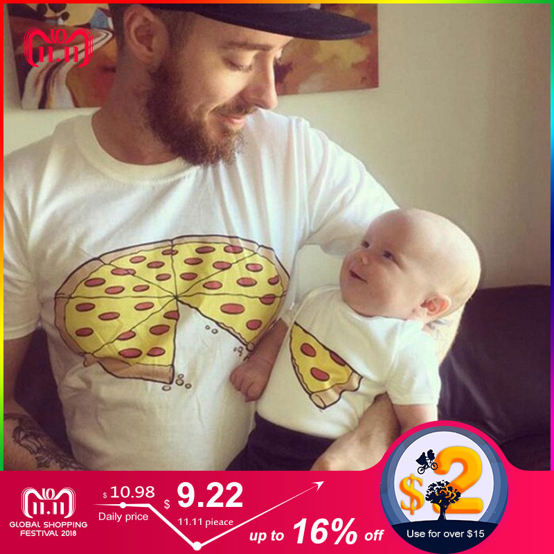 Fashion Family Matching Clothes Father and Son shirt Baby Boy T-shirt Casual Short Sleeve Summer Children Clothes PIZZA print stylish jewel neck half sleeve puppy print women s t shirt