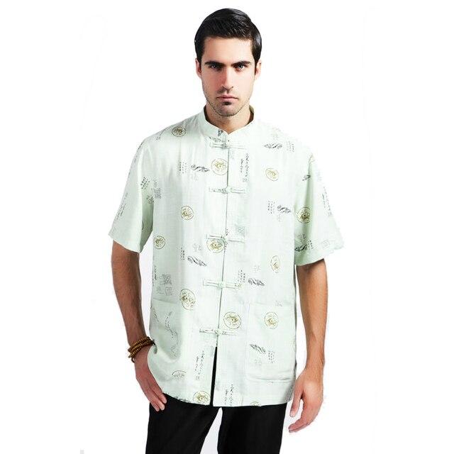 Light Green Summer Chinese Men Tai Chi Shirt Cotton Linen Tops Vintage Mandarin Collar Button Shirt Size M L XL XXL XXXL MS081