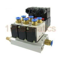 Free Shipping 10pcs/Lot Pneumatic Triple Solenoid Valve w Base Push In Connectors Silencers 4V210 08