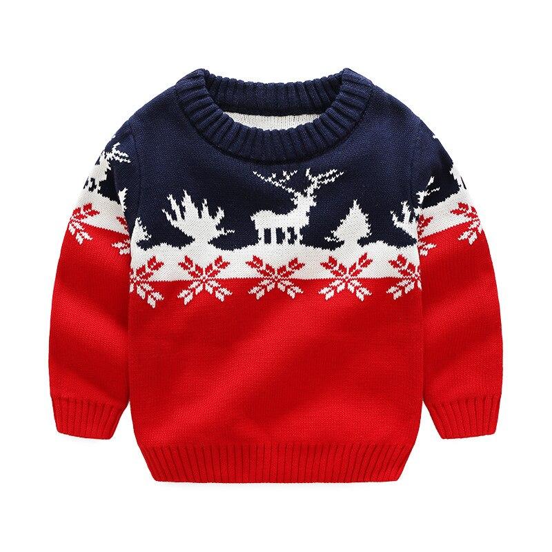 2017 Autumn Winter New Kids Cartoon Christmas Deer Sweater Children New Year Clothing Boys Girls Cotton Pullover Baby Costumes