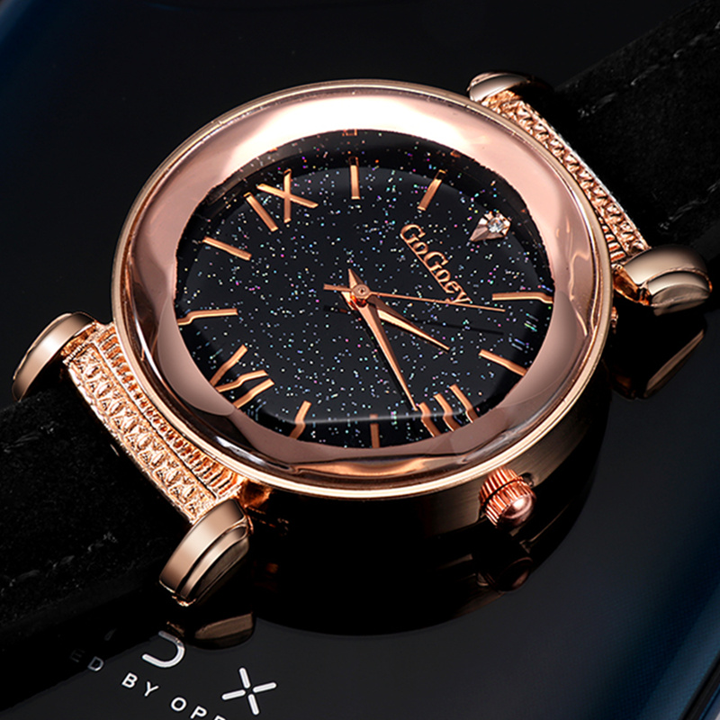 Gogoey Brand Rose Gold Leather Watch Women Watches Ladies Luxury Dress Quartz Wrist Watch Diamond Women's Watches reloj mujer