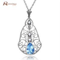 Wholesale Natural Pearl Pendant Necklace Blue Created Topaz Solid 925 Silver Necklace Wedding Jewelry For Women