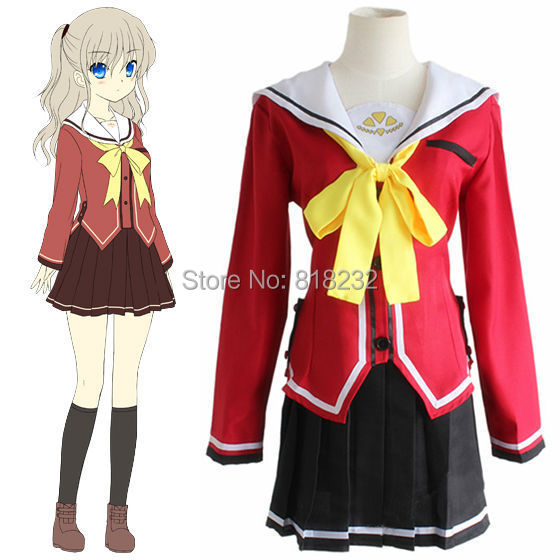 100% Quality Charlotte Tomori Nao Sailor Suit School Uniform Dress Outfit Cosplay Costumes