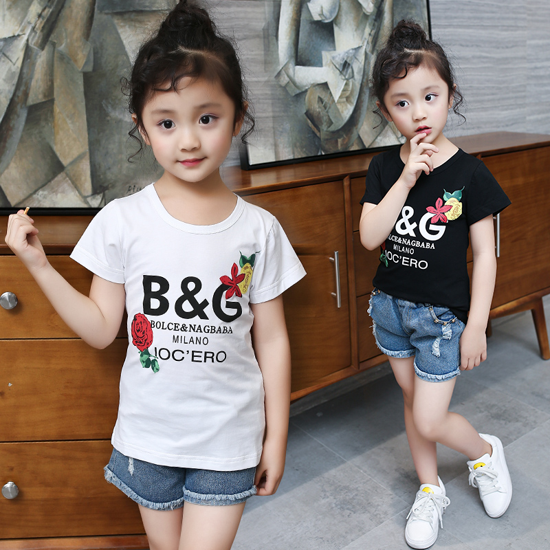 2017 new summer girls in the small children s clothing tide fashion wild letters sports short
