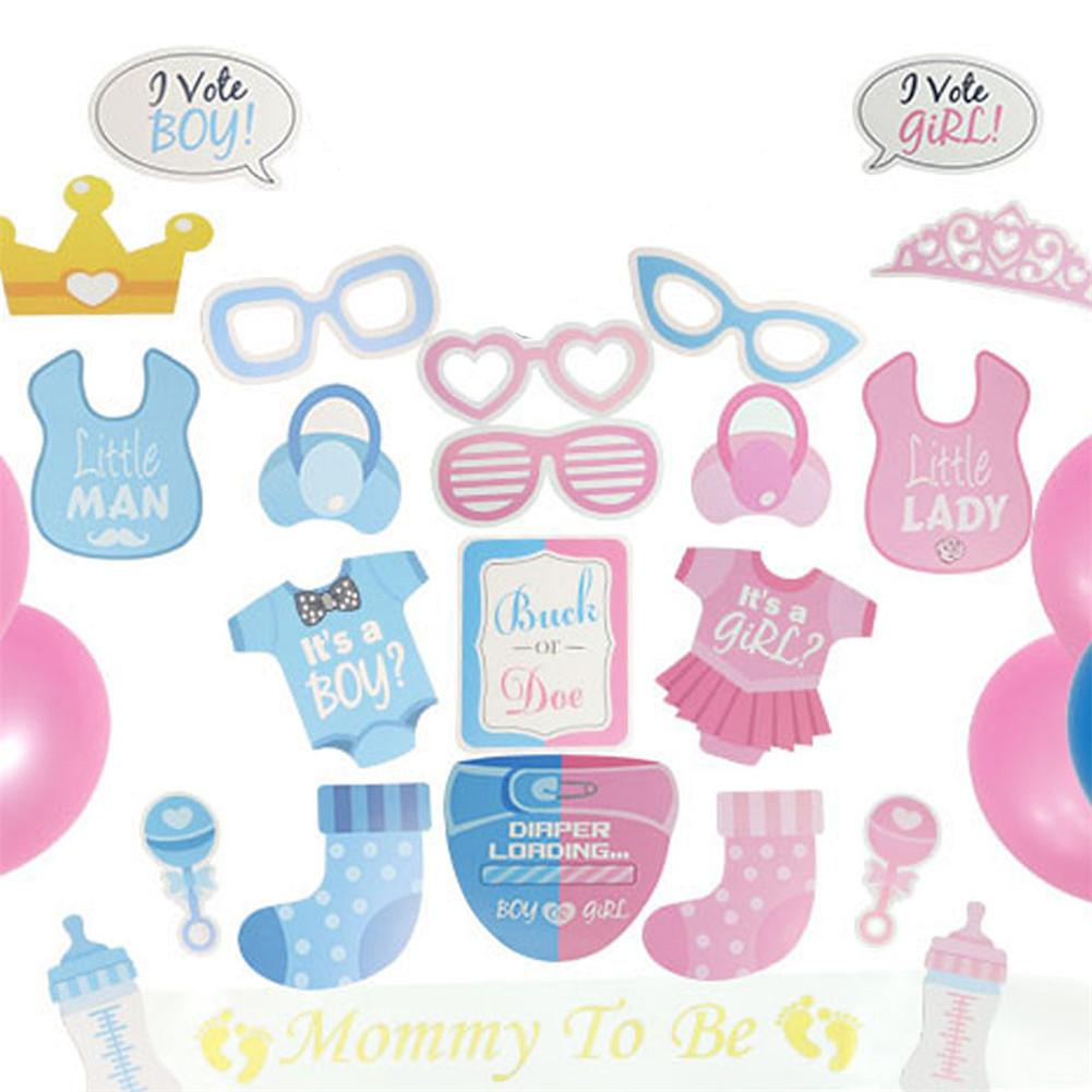 Gender Reveal Party Balloon Set Supplies Boy Girl Banner Decorations Confetti Balloons Photo Props in Ballons Accessories from Home Garden
